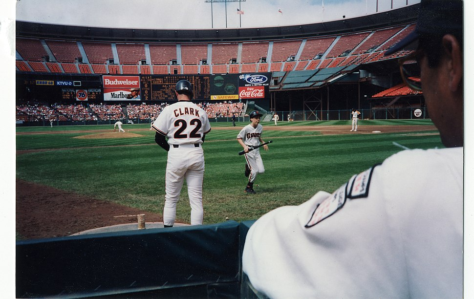 Will Clark preparing to bat during seventh inning of 12 August 1992 game between San Francisco Giants and Houston Astros