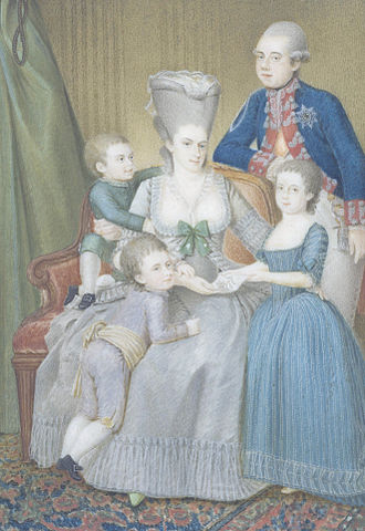 Willem V of Orange, stadholder from 1751 to 1806, and Wilhelmina of Prussia with three of their five children. From left to right: the future William I of the Netherlands, Frederick, and Frederica Louise Wilhelmina. Willem v (2).jpg