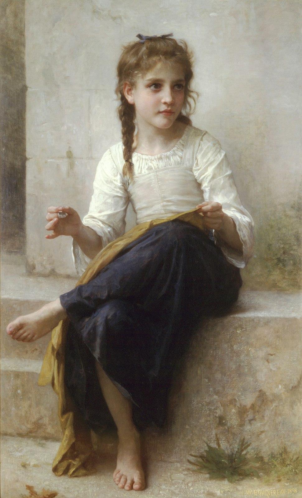 William-Adolphe Bouguereau (1825-1905) - Sewing (1898) Edit 2