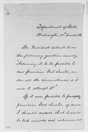Fort Sumter - Letter from William H. Seward advising President Lincoln on the obstacles in resupplying Fort Sumter, March 1861