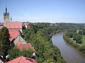 Bad Wimpfen - view from the Roter Turm (Red Tower) onto the castle quarter and the river bow