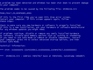 Crash (computing) - A Blue Screen of Death as displayed in Windows XP, Vista, and 7