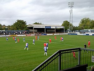 Worcester City F.C. - Worcester (blue and white shirts) in action against Dover Athletic in 2009