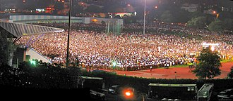 History of the Republic of Singapore - One of the Workers' Party demonstration rallies, this particular one at Serangoon Stadium. The opposition rallies were known for having a large turnout.