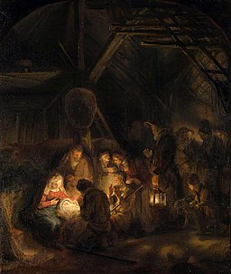 The Adoration of the Shepherds - Workshop of Rembrandt