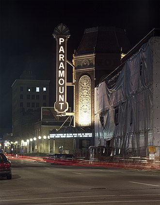 Aurora, Illinois - The Paramount Theatre under renovation, downtown Aurora.