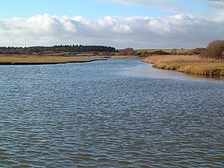 The mouth of the River Corfe in the Whych Channel at high tide