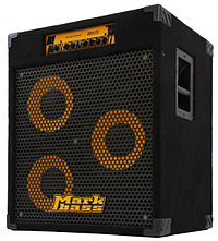 A portable bass amplifier/speaker cabinet is shown. This Markbass brand unit has three ten-inch loudspeakers.