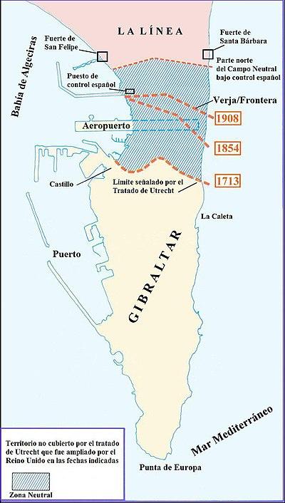 Mapa del istmo entre España y Gibraltar.