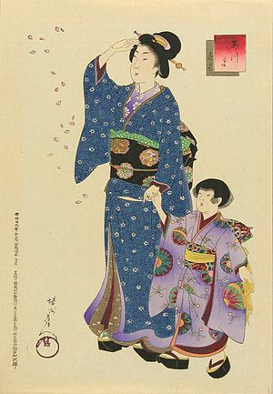 Furisode - A girl wearing a 19th-century furisode, with her mother (Yōshū Chikanobu, circa 1896)