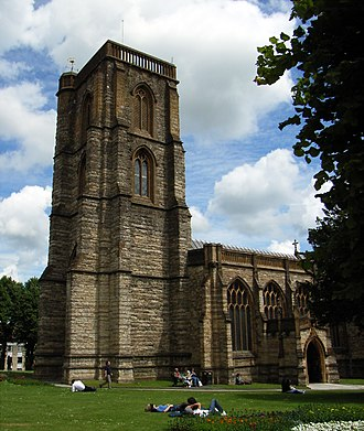 Somerset towers - Image: Yeovil St John's Church tower from entrance side 2