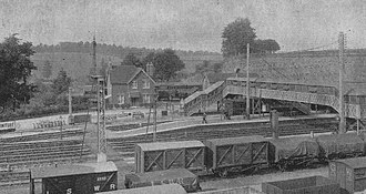 Yeovil Junction railway station - Yeovil Junction following reconstruction in 1908 with the station master's house in the background. The wagons are in the Clifton Maybank sidings.