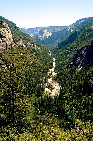 1997 Merced River flood - The Merced River, shown here downstream from Yosemite Valley, flooded torrentially from December 31 – 5 January 1996–97.