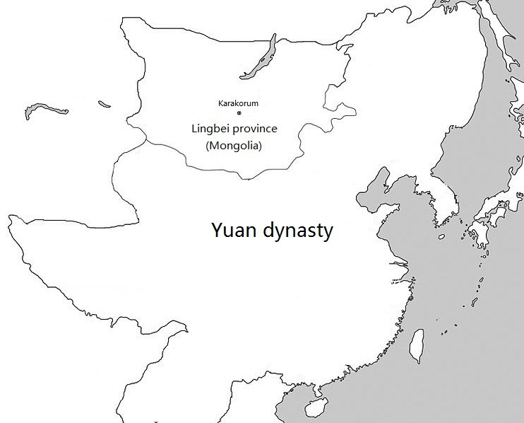 Location of Mongolia under Yuan rule