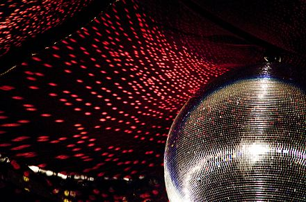 The reflective light disco ball was a fixture on the ceilings of many discotheques. ZMF 2015 IMGP 0000.jpg