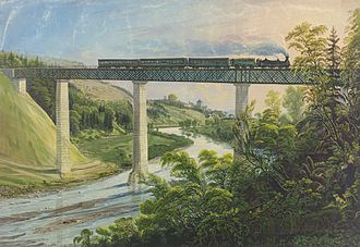 Swiss Northeastern Railway - Iron bridge across the Thur, built in 1856/7 as part of the line between Winterthur and Schaffhausen which was put into service in 1857 (lithograph from 1857)