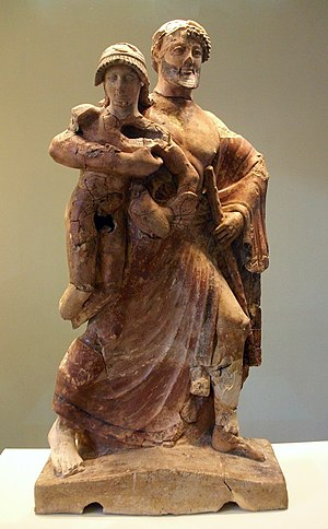 Archaeological Museum of Olympia - Image: Zeus i Ganimedes, terracota. Taller corinti, 480 479 a C. Museu arqueològic d'Olímpia