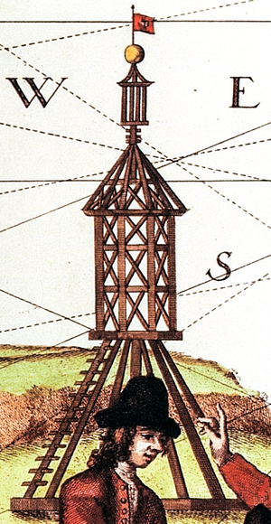 Daymark - Scharhörn daymark as an illustration on a 1721 map