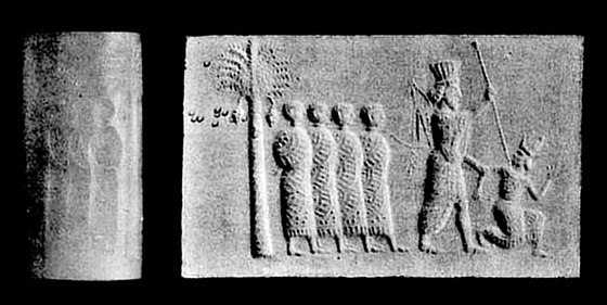 The Svenigorodsky cylinder seal depicting a Persian king thrusting his lance at an Egyptian pharaoh, while holding four other Egyptian captives on a rope. Zvenigorodsky seal.jpg