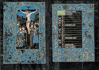 Black Hours, Morgan MS 493 - The Crucifixion, folios 14v–15r; Calendar: Hours of the Cross
