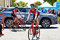 (L-R) Martin Elmiger and Michael Schar of BMC before the start of Stage 2 in Modesto (34228298153).jpg
