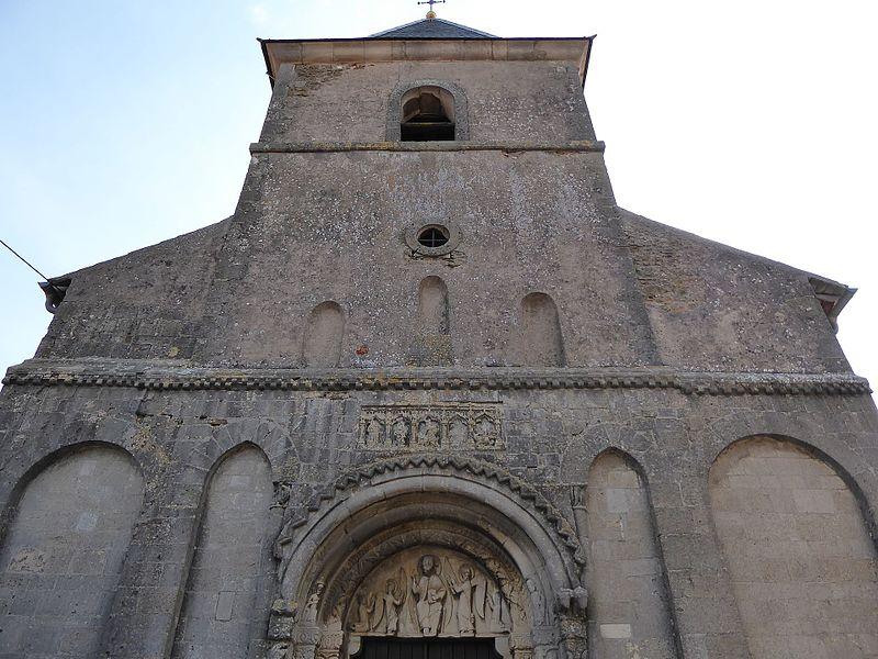 Portail roman (XIIème siècle) de  l'église Saint-Laurent de Laître-sous-Amance en Meurthe-et-Moselle.