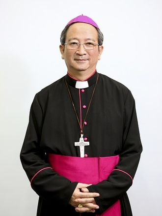 Pectoral cross - Archbishop Paul Bùi Văn Đọc of Vietnam wearing a copy of the pectoral cross of Pope Francis.