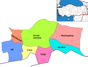 Cizre - Districts of Şırnak, with Cizre colored yellow