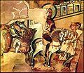 Θριαμβευτική είσοδος έφιππου βυζαντινού αυτοκράτορα, ίσως του Ιουστινιανού II, στη Θεσσαλονίκη ύστερα από νίκη του κατά των Σλάβ.jpg