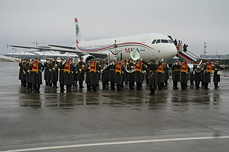 Special Exemplary Military Band of the Guard of Honor Battalion of Russia - The band at the airport.