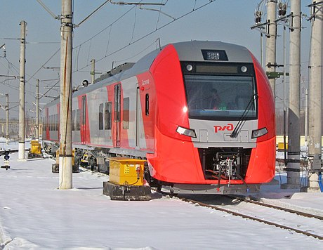 "A ""Lastochka"" (Siemens Desiro) train, which serves the Tuapse–Sochi route"
