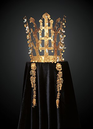 Crown (headgear) - The Seobongchong Golden Crown of Ancient Silla, which is 339th National Treasure of South Korea. It is basically following the standard type of Silla's Crown. It was excavated by Swedish Crown Prince Gustaf VI Adolf in 1926.