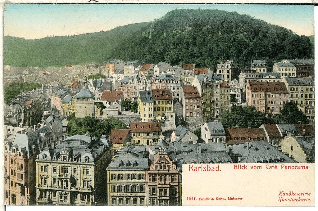 Vue panoramique sur Karlovy Vary vers 1900 alors Karlsbad - Carte postale Brück & Sohn Kunstverlag Meißen