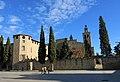 037 Monestir de Sant Cugat del Vallès, façana oest, pl. Octavià.JPG