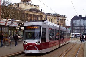 Trams in Braunschweig - An Alstom NGT8D tram in the Bohlweg, 2009.