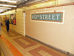 103rd Street (IRT Lexington Avenue Line) - Wall tiles prior to 2015 renovation