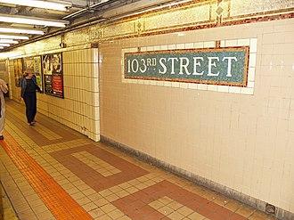 103rd Street (IRT Lexington Avenue Line) - Wall tiles prior to 2015 renovation