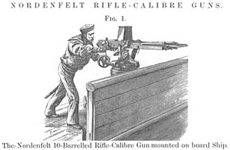 Nordenfelt gun - Sailor operating 10-barrel rifle calibre gun, with right hand on lever