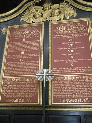 English: 10 Commandments within St Mary Woolno...