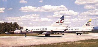 134th Fighter Squadron - Vermont Air National Guard 134th Fighter-Interceptor Squadron F-102s, on alert at Ethan Allen Air National Guard Base, 1970 Aircraft identified as Convair F-102A-95-CO Delta Dagger 57-871 (Block 90) 57-852. Note different color fin caps.