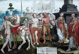 Momus - Momus Criticizes the Gods' Creations, by Maarten van Heemskerck, 1561, Gemäldegalerie, Berlin
