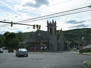 "Roaring Spring, Pennsylvania - Main Street at Spang Street / Church Street, locally referred to as ""The 5-points"""