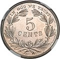 "1866 reverse, ""5 Cents"" surrounded by wreath"