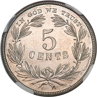Washington nickel - Image: 1866 5C Five Cents, Judd 461, Pollock 535, R.5 rev