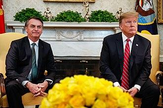 Brazil–United States relations - Brazilian President Jair Bolsonaro with U.S. President Donald Trump in the White House, March 2019.