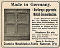 1906 circa Werbung Deutsche Metalldecken-Fabrik Henry S. Northrop Hannover Metall-Zimmerdecken Hallerstraße 37.jpg