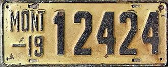 Vehicle registration plates of Montana - Image: 1919 Montana license plate
