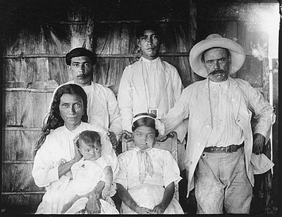 Mixed heritage is common in Cuba as documented in this photo of the Barrientos family in 1919, headed by an indigenous woman from Baracoa, Cuba and a Spanish ex-soldier. 1919 The Barrientos family.jpg