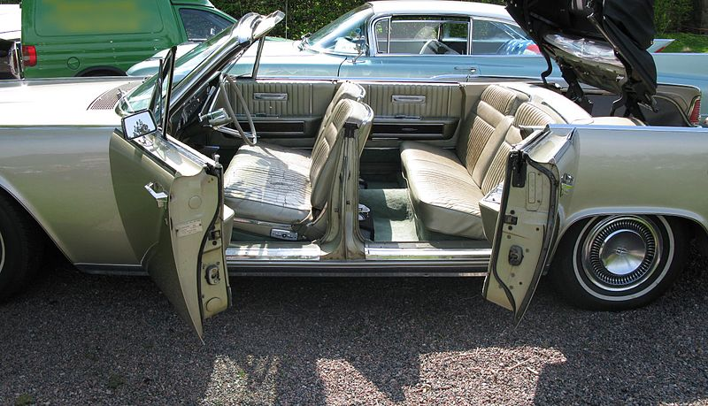 File:1960s Lincoln Continental convertible with suicide doors open.jpg
