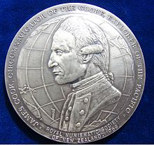 1969 James Cook NZ Bicentennial Silver Medal by James Berry. Obverse.jpg